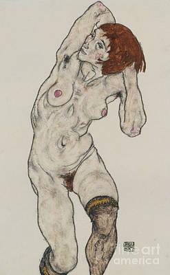 Standing Nude In Black Stockings, 1917  Art Print by Egon Schiele
