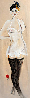 Nipple Drawing - Standing Nude In Black Stockings With Flower And Bird In Hair by Susan Adams