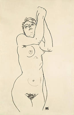 Drawing - Standing Nude With Raised Arms by Egon Schiele