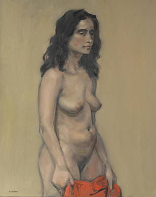 Painting - Standing Nude With Red Cloth by Robert Holden