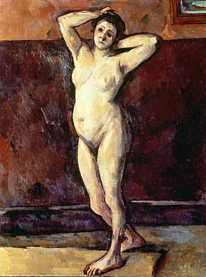 Nude Models Painting - Standing Nude Woman by Cezanne
