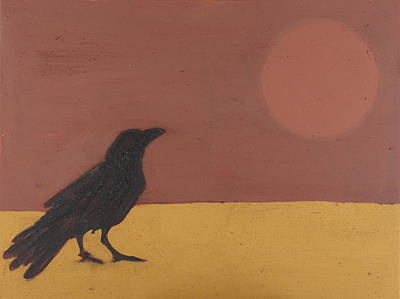 Iron Oxide Painting - Standing Raven And Sun 2 by Sophy White