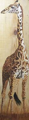 Animals Paintings - Standing Tall Giraffe on Wood by Debbie LaFrance