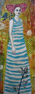 Portrait Mixed Media Painting - Standing Tall by Jane Spakowsky
