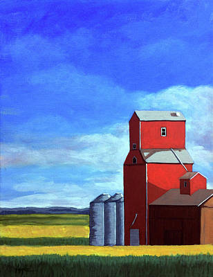 Farm Scene Painting - Standing Tall by Linda Apple