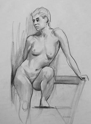 Drawing - Standing With Chair Support For Leg And Arm by Robert Holden
