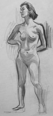 Drawing - Standing With Hand On Hip by Robert Holden