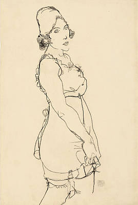Drawing - Standing Woman by Egon Schiele