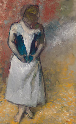 Corset Painting - Standing Woman Seen From The Front, Clasping Her Corset by Edgar Degas