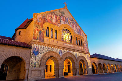 Church Fixture Photograph - Stanford Memorial Church At Nighfall by Jonathan Nguyen
