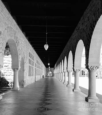 Photograph - Stanford University Hallway Black And White by Haleh Mahbod