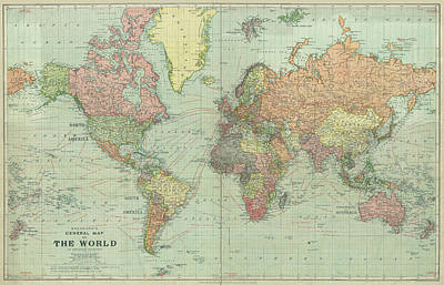 Old Map Photograph - Stanford World Map 1922 by Daniel Hagerman