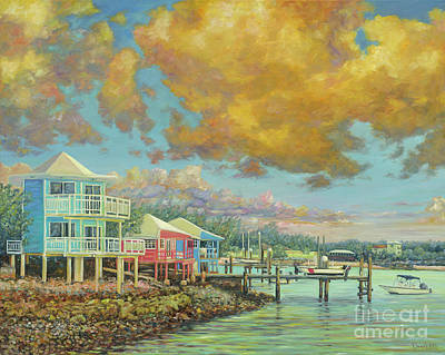 Yacht Club Painting - Staniel Cay Sunset by Danielle Perry