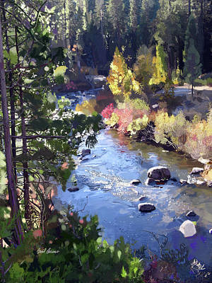 Cedars Painting - Stanislaus River In Fall by Brad Burns