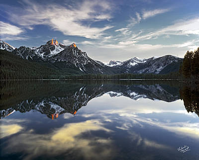 Snow Capped Photograph - Stanley Lake by Leland D Howard