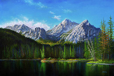 Bob Ross Painting - Stanley Lake Reflections by C Steele