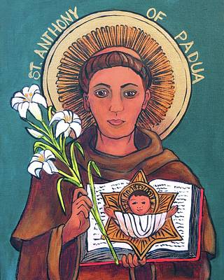 St .anthony Of Padua Print by Candy Mayer