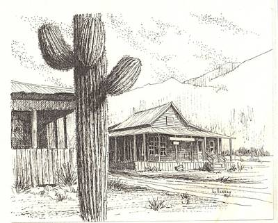 Drawing - Stanton Ghost Town Arizona by Kevin Heaney