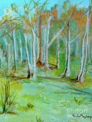 Painting - Stanwick Lakes Trees by Paula Maybery