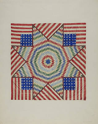 Star And Flag Design Quilt Art Print by Fred Hassebrock