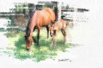 Painting - Star And Her Colt by Dale Turner