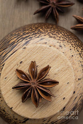 Kitchen Decor Photograph - Star Anise On Wooden Bowl by Edward Fielding