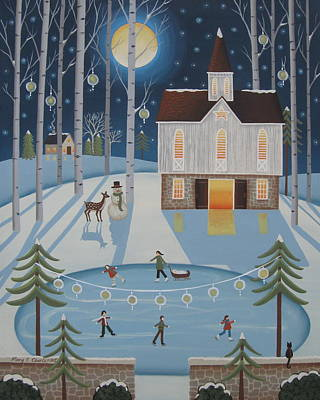Winter Scene Art Painting - Star Barn Skaters by Mary Charles