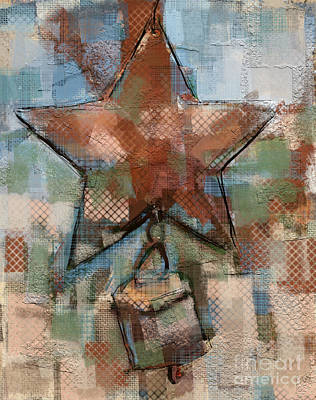 Country Cottage Mixed Media - Star Bell by Carrie Joy Byrnes