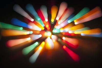 Photograph - Star Burst Christmas Lights Abstract by Glenn Gordon