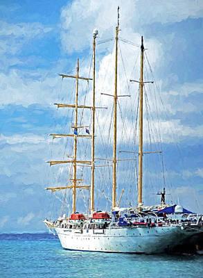 Digital Art - Star Clipper Tall Ship by Dennis Cox Photo Explorer