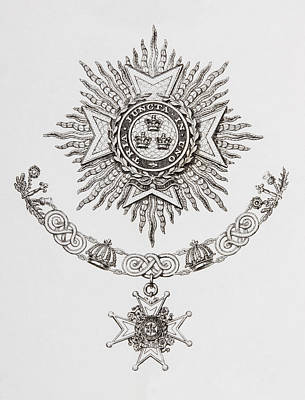 Star-crossed Drawing - Star, Collar And Badge Of A Military by Vintage Design Pics