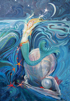 Mother Of Pearl Painting - Star Collector by Silvia  Duran