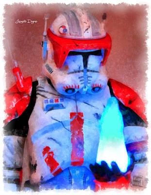 Fighters Digital Art - Star Commander Cody Order 66  - Aquarell Style -  - Da by Leonardo Digenio