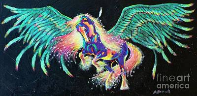 Tinkered Mixed Media - Star Feather Pony by Louise Green