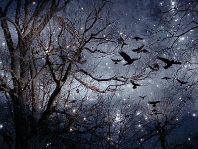 Starlit Crows In Flight Art Print