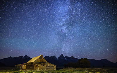 Photograph - Star Filled Night Over Mormon Row Barn Gtnp by Vishwanath Bhat