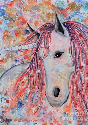 Mixed Media - Star Fire Unicorn by Jean Clarke