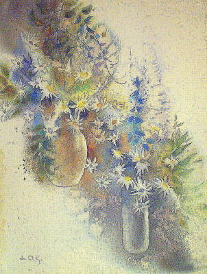Loose Painting - Star Flowers- One by June Conte Pryor