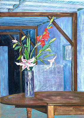 Painting - Star Gazer Lilies And Gladiolus In A Crystal Vase by Asha Carolyn Young