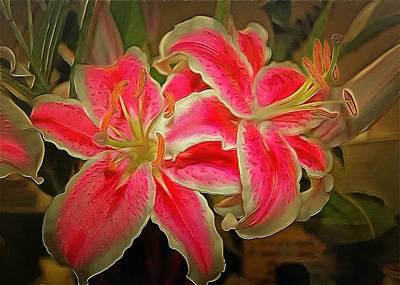Digital Art - Star Gazer Lilies by Charmaine Zoe