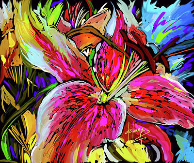 Digital Art - Star Gazer Lilly by DC Langer