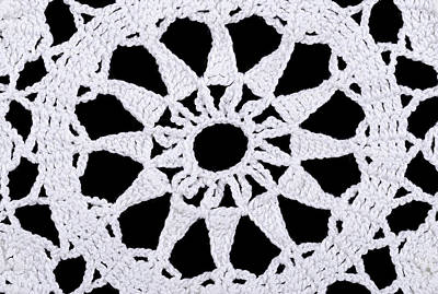 Star In A White Crocheted Doily Art Print by Peter Hermes Furian