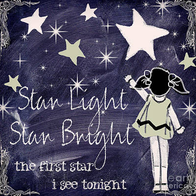 Nursery Rhyme Painting - Star Light Star Bright Chalk Board Nursery Rhyme by Mindy Sommers