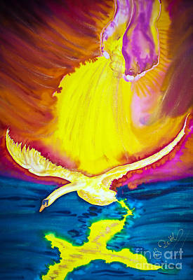Artdeco Painting - Star Light - Transport Swan by Walter Zettl