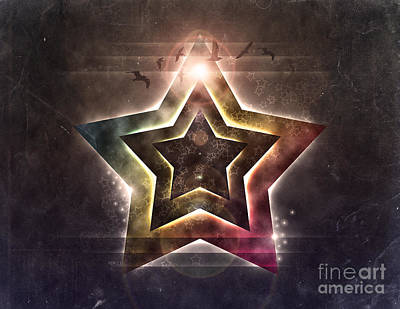 Print featuring the digital art Star Lights by Phil Perkins