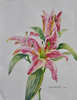 Painting - Star Lilies by Ingrid Dohm