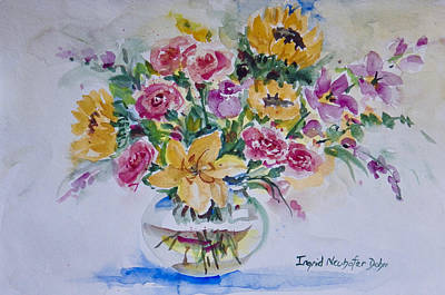 Painting - Star Lily And Sunflowers by Ingrid Dohm