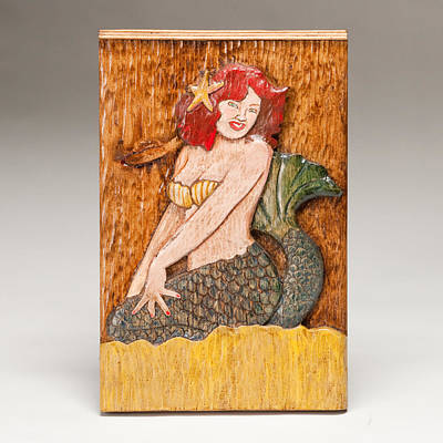 Folk Art Woodcarving Sculpture - Star Mermaid by James Neill