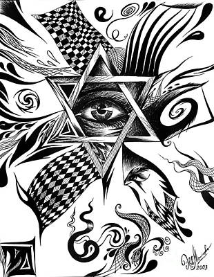 Judaica Drawing - Star Of David. Power. Immortality. Glory by Sofia Metal Queen