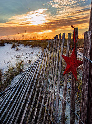 Photograph - Star On Fence Verticle by Michael Thomas